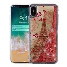 "For iPhone XS Max 6.5"" - Paris Eiffel Tower Pink Glitter Stars Liquid Case Cover"