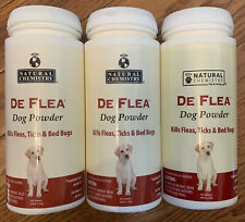 Lot Of 3 Natural Chemistry De Flea Dog Powder 6.88oz Kills fleas Ticks & Bedbugs