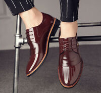 2018 Mens Synthetic Leather Pointed Toe Lace Up Block Business Shoes Formal
