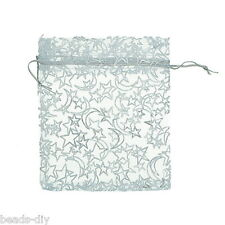 BD 25pcs White Star& Moon Organza Gift Pouch Bags Wedding X-mas Favor 10x12cm
