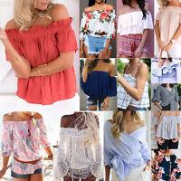 Lot Women Off Shoulder Chiffon Strapless T-Shirt Summer Casual Loose Top Blouse