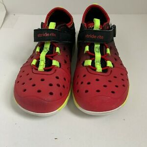 Stride Rite Baby Boys Sneakers US 8 Red Neon Black Shoes Made to Play No Lace US