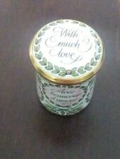 "Vintage Halcyon Days England Tall Enamel Box ""With Much Love"" in 5 Languages!"