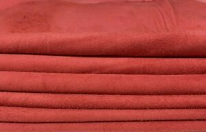 PERSIAN RED SUEDE soft Italian Lambskin Lamb leather 2 skins total 14sqf 0.5mm