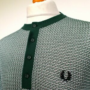 Fred Perry x Reissues Waffle Knit Henley - Pine - XL - Mod 60's Casuals Scooter