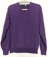 ☀ SAKS FIFTH AVE 100% Cashmere V Neck Hthr Purple Pullover Sweater Medium