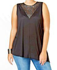 Top 3x Plus Rachel Roy Black Lace Inset Blouse Sleeveless Tm486