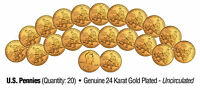 Lot of 20 LINCOLN BICENTENNIAL 2009 Pennies UNC Coins 24K Gold Plated FORMATIVE