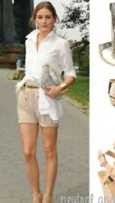 Warehouse Beige Light Brown Faux Leather Hotpant Shorts Size 12 Olivia Palermo