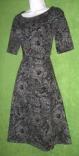 Lands End Black Gray Flocked Floral Fit Flare Social Dress XL Petite 16/18 $99