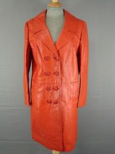 SUPERB VINTAGE 1970's CLASSIC RED LEATHER DOUBLE-BREASTED COAT 36 INCH