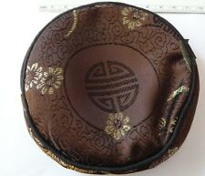 """4"""" Brown & Gold Chinese Kids Flowers Jewelry Charm Gift Zipper Bag"""