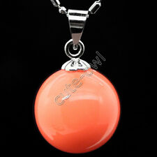 "14mm Coral color sea shell pearl round drop pendant necklace 16-17""AAA"