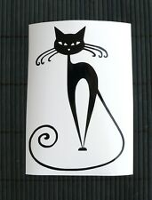 adesivo GATTO NERO gattino wall sticker decal vynil vinile black cat auto moto