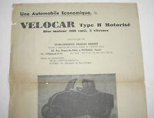 Prospekt MOCHET VELOCAR type H moteur microcar automobile Automobil velo ancien