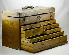 Vintage Machinist Tool Chest &  Oak Wood Box w/ Eagle Co. Lock, Made in USA