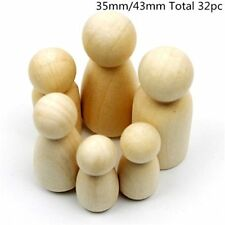 32Pc Peg Doll GirlBoy 35mm 43mm Each Type 8pc Unfinished Wooden People Large