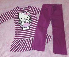 Pantalon violet taille réglable empiècements coeurs genoux H&M 4 5 ANS