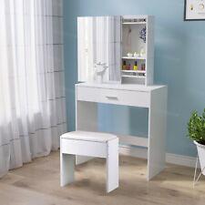 Modern White Dressing Table Makeup Vanity Desk w/ Drawer&Sliding Mirror Bedroom
