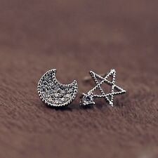Moon And Star Silver Plated Zircon Jewelry Studs Gift Crystal Fashion Earrings