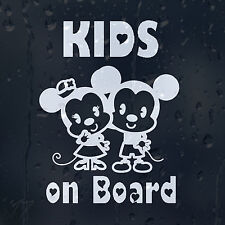 Kids On Board Funny Mouse Boy And Girl Car Decal Vinyl Sticker For Bumper Window