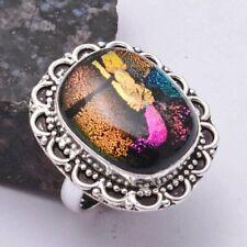 Fancy Dichroic Glass Ethnic Handmade Ring Jewelry US Size-8.5 AR 39169