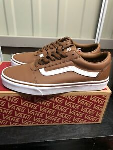VANS Old Skool,  Brown/White Classic Tumble Leather With Gum Soul, UK 7.5