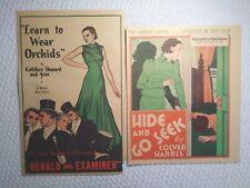 Vintage 1936 Art Deco Art (2) Poster Lot Learn to Wear Orchids & Hide & Go Seek