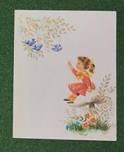 vintage Greeting Card Any Occasion Girl on Mushroom  great nostalgic art UNUSED