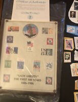 Lot of Worldwide Old Stamps Used & Lady Liberty Plaque See Description Countries