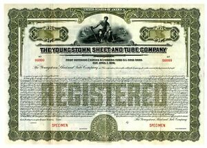 OH. Youngstown Sheet and Tube Co 1930 $-Odd Specimen Registered Gold Bond XF ABN