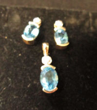 VINTAGE 3PC. 10K YELLOW GOLD TOPAZ AND DIAMOND EARRINGS AND PENDANT SET