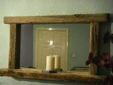 Sculptured Driftwood Mantel / Garden Mirror With Candle Shelf 120cm X 60 Cm