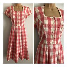 Vintage 80's Pink & White Check Pattern Cotton Mix Traditional Dirndl Dress 8