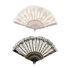 2pcs Chinese Flower Lace Folding Fan Hand Held Dance Party Wedding Prom Fans