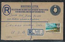 ST LUCIA (P2706B)  QEII 15C RLE UPRATED 25C 1966 TO USA