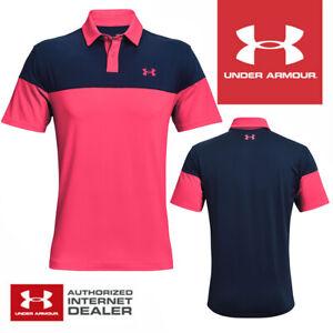 Under Armour T2G Blocked Golf Polo Shirt Black/Venom Red - NEW! 2021