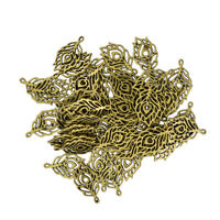 50pcs Hollow Peacock Feather Alloy Pendants Charms for DIY Jewelry Making
