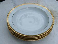4 Assiettes creuses Porcelaine de Limoges Bernardaud & C° contour doré or