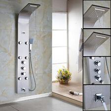 Thermostatic Stainless Steel Shower Panel Tower Rain Waterfall Massage Body Jet