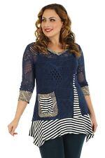 Aster Blue by FIRMIANA Open Crochet Knit Bohemian Top Blue Size L