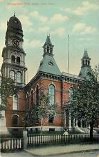 Gloucester Massachusetts~City Hall~Clock Tower~Fence~1911 Postcard