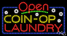 "New ""Open Coin-Op Laundry"" 32x17 Solid/Animated Led Sign W/Custom Options 25488"