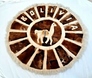 """Vintage 1970's Round Hand Made Alpacca Image Design Rug Bolivia Wool 50"""" Wall"""