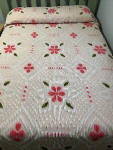 Vintage Pink Chenille Bedspread Fringe King Size 108x113