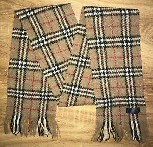 Burberry RARE beige nova check Merino Wool Nylon Angora scarf 156cm X 18cm