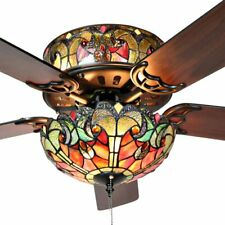 "Ummuhan Tiffany-Style 52"" Stained Glass LED Ceiling Fan - Spice"