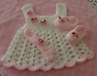 HANDMADE CROCHET BABY DRESS. SHOES,HEADBAND-SOFT PINK   by ROCKY MOUNTAIN MARTY