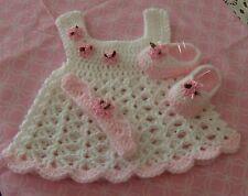 HANDMADE CROCHET BABY DRESS. SHOES,HEADBAND-SOFT PINK   by ROCKY MOUNTAIN MARTY