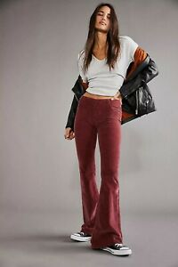 Free People pull On Cord Flares Bell Bottom Trousers garnet Size 26 8/10  new